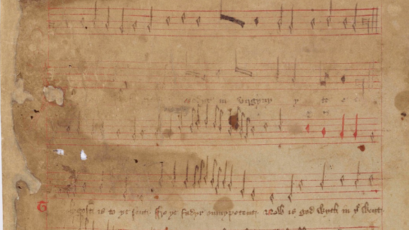 A section of the Roll Of Carols, The James Catalogue Of Western Manuscripts. Original here.